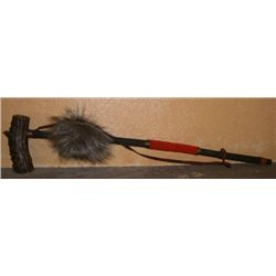 Authentic Navajo ELK ANTLER Piece Pipe made with Elk Antler/FUR/RED BEADS & Leather Measures 23 Inch