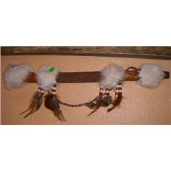 Piece Pipe made of Wood/Rabbit Fur/Beads & Leather MINT CONDITION Measures 18 1/2 Inches Long!!