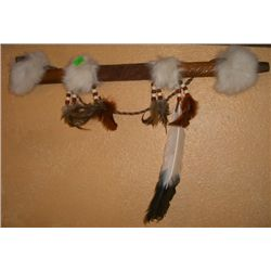 Piece Pipe made of Wood/Eagle Feather/Rabbit Fur/Beads & Leather MINT CONDITION Measures 19 Inches L