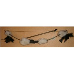 Navajo Childrens Bow & Arrow made with Wood/Rabbit Fur/ Leather & Beads!!