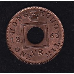 1863 Hong Kong Bronze One Mil