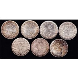 Hong Kong Silver Ten Cent Lot of Seven