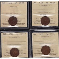 Lot of Four 1925 One Cent