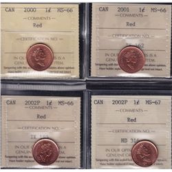 Lot of Sixteen ICCS Graded One Cents
