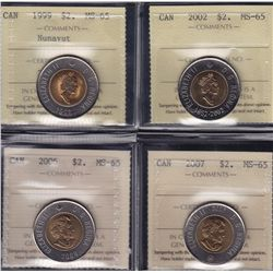 Lot of Eight ICCS Graded Two Dollars
