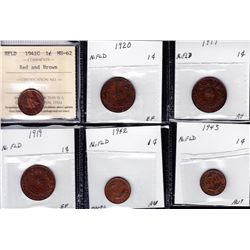 Lot of Twelve Newfoundland One Cent