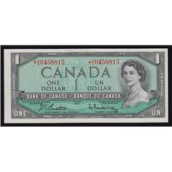 1954 Bank of Canada $1 Replacement Cut out of register Error Note