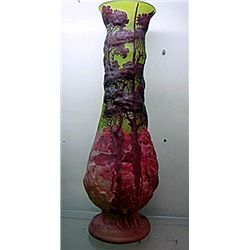 Galle Signed Hurricane Vase with Pedestal with Brightly Colored Tree Design