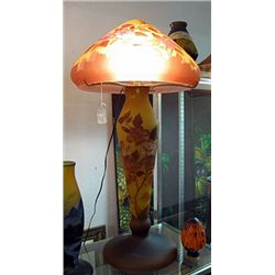 Galle Signed Tall Table Lamp with Floral Deisgn