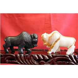 Original Hand Carved Marble  Buffalos  by G. Huerta