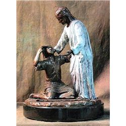 Bronze Sculpture - Jesus and the Blindman by D. Hunter