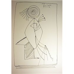 Original Hand Draw, Ink Drawing  Signed Picasso -UNTITLED -