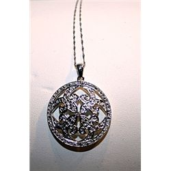 Lady's Very Fancy 14 kt White Gold Royal Queen Diamond Pendant
