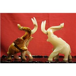 Original Hand Carved Marble  Elephants  by G. Huerta