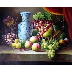 Original Oil on Canvas. Grapes by C. Freeman