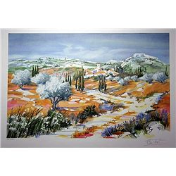 Limited Edition Lithograph  Lanscape Scene  by Artist Ella Fort