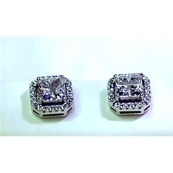 Lady's Antique Style Sterling Silver Square Shape White Topaz & Diamond Earrings