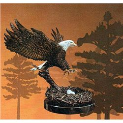 Bronze Sculpture - Eagle's Nest by D. Hunter