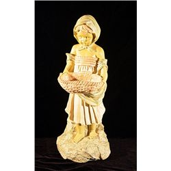 Girl with Basket  Alabaster Sculpture