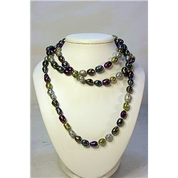 Lady's Beautiful Real Broka Multi Colored Pearl Necklace