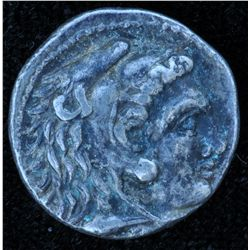 Macedonia (336-323 BC) - AR-Hemidrachm Obv: Head of Herckles Rev: Zeus seated, 2.7 grams S-6733, VF,
