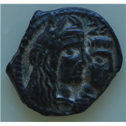 Petra (9-40  AD) - AE-17 Aretas IV Obv: conjoined hds., r. of Aretas and Dr. bust of Shuqailat.  Rev