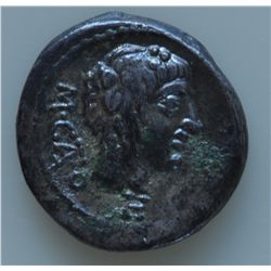 M. Porcius Cato (89 BC) - AR-Quinarius  Obv:  Head of young Bacchus r. with ivy M CATO behind head c