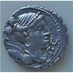 Ti. Claudius Ti.f. Ap.n Nero. (79 BC) - AR-Denarius Obv: Diad and dr. bust of Diana r., with bow and
