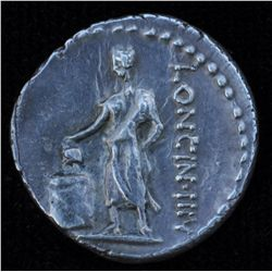 L. Cassius Longinus (63 BC) - AR-Denarius Obv: Veiled and diad.  head of  Vesta l., two handled cup