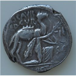 M.Aemilius Scaurus  (58 BC) - AR-Denarius Obv: King Aretas of Nabataea kneeling in supplication, bes