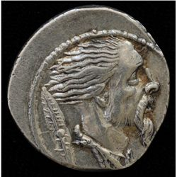 L.Hostilisu Saserna  (48 BC) - AR-Denarius Obv: head of captive Gaul r., chain around neck and shiel