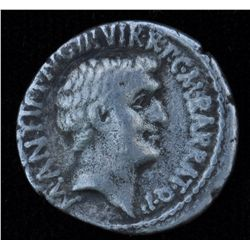 Mark Antony and Octavian  (41 BC) - AR-Denarius Obv: Bare head of Mark Antony r., M ANT IMP AVG III
