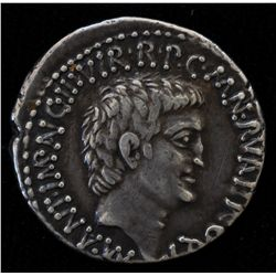 Mark Antony and Lucius Antony (41 BC) - AR-Denarius Obv: Bare head of Mark Antony r., M ANT IMP AVG