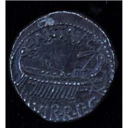 Mark Antony   (32-31 BC) - AR_Denarius Obv: Galley r., mast with banners at prow ANT AVG III VIR R P