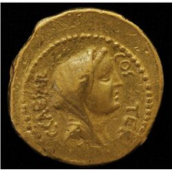Julius Caesar (46 BC) - AU-Aureus  Obv: Veiled head of Vesta  CAESAR COS TER Rev: Jug between lituus