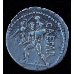 Julius Caesar (47-46 BC) - AR-Denarius Obv: Diad. head of Venus with no legend. Rev: Triacrus stg. l