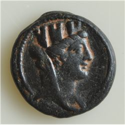 Augustus (27 BC - 14 AD) - AE-18  Antioch 4-5 AD.  Obv:Veiled and turreted head of Tyche r. Rev: Tri