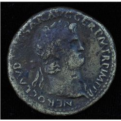 Nero (54 - 68 AD) - AE-Sestertius   Rome 65 AD. Obv: Laur. head of Nero r., with aegis on neck NERO