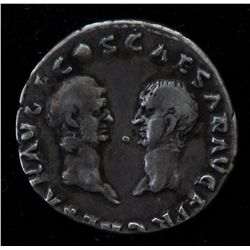 Vespasian with Titus and Domitian (69-79 AD) - AR-Denarius Rome 69-70 AD. Obv: Laur. hd. r. IMP CAES