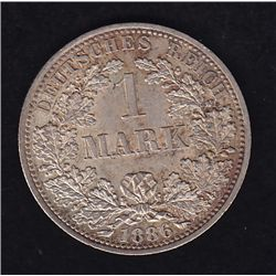 1886 A Germany One Mark - Berlin Mint. Difficult in uncirculated condition.