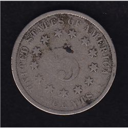 1883 over 2 United States of America Five Cent - Rare Variety, VG.
