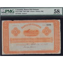 1884-1900 Columbia Banco Del Oriente Five Pesos - PMG Choice AU58. S/N:6210 - Series 1.
