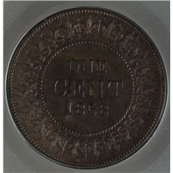 1858 Canada One Cent Essai - CH PC-2, PCGS SP63 Brown. Bronze specimen, uniface design that is simil