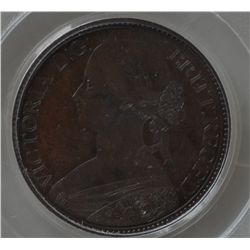 1861 Nova Scotia One Cent Pattern - CH NS-4, PCGS SP65 RB. Bronze, 4.69 grams. Large bust of Victori