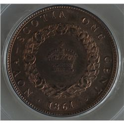1861 Nova Scotia One Cent Specimen Pattern - CH NS-8, PCGS SP64 BN. Bowman B-10. Bronze, 5.65 grams.