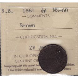 1861 New Brunswick Half Cent - ICCS MS-60 Brown.