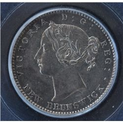 1864 New Brunswick Ten Cent  - PCGS AU58. Superb Strike, so close to UNC.