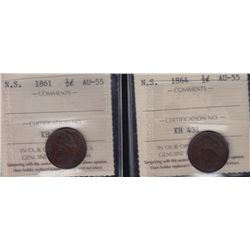 Lot of Two Nova Scotia Half Cents - Dates include: 1861 & 1864. Both ICCS AU-55.