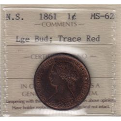 1861 Nova Scotia One Cent - ICCS MS-62 Large Bud, Trace Red.
