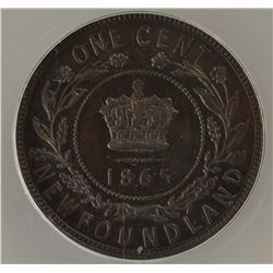 1865 Newfoundland One Cent - ANACS AU-55.